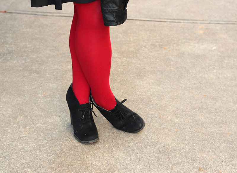 Red Tights with Black Lace Up Ankle Boots