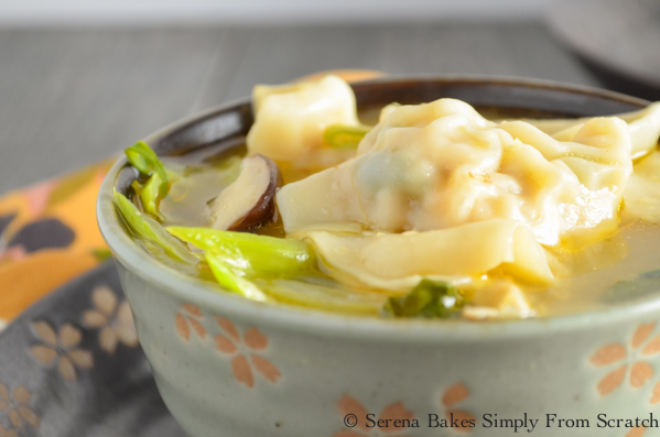 Wonton Soup is light yet hearty with lots of fresh veggies! serenabakessimplyfromscratch.com