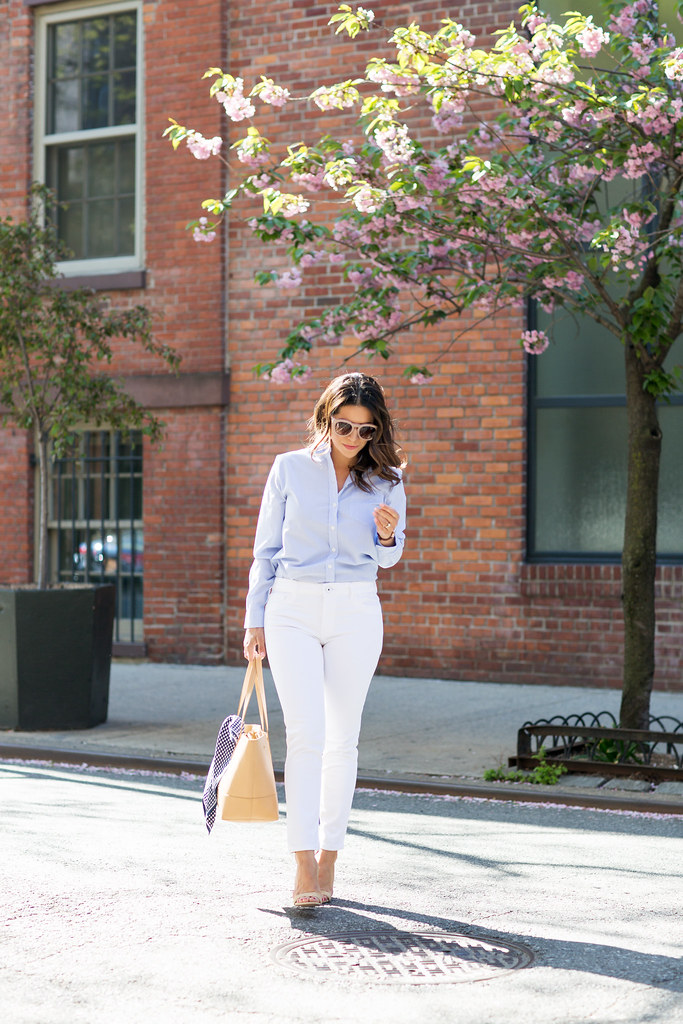 what to wear in the spring white denim dl1961 your favorite blue button down nude heels steve madden j.crew tote nude tote henri bendel sunglasses spring outfits that you'll love white jeans denim casual style weekend outfits