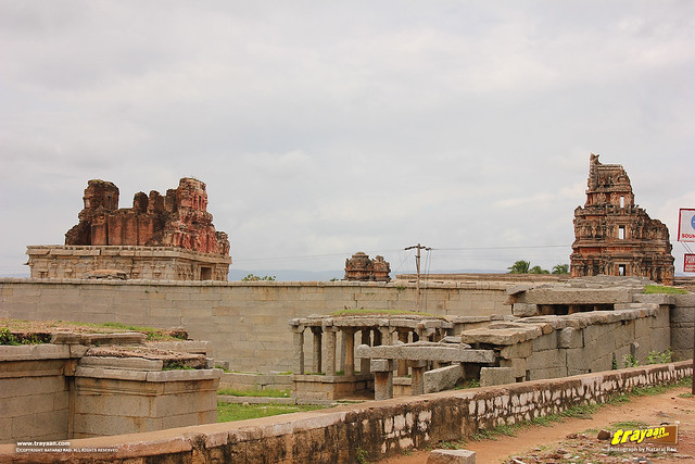 Ruined towers of Krishna temple in Hampi, Ballari district, Karnataka, India
