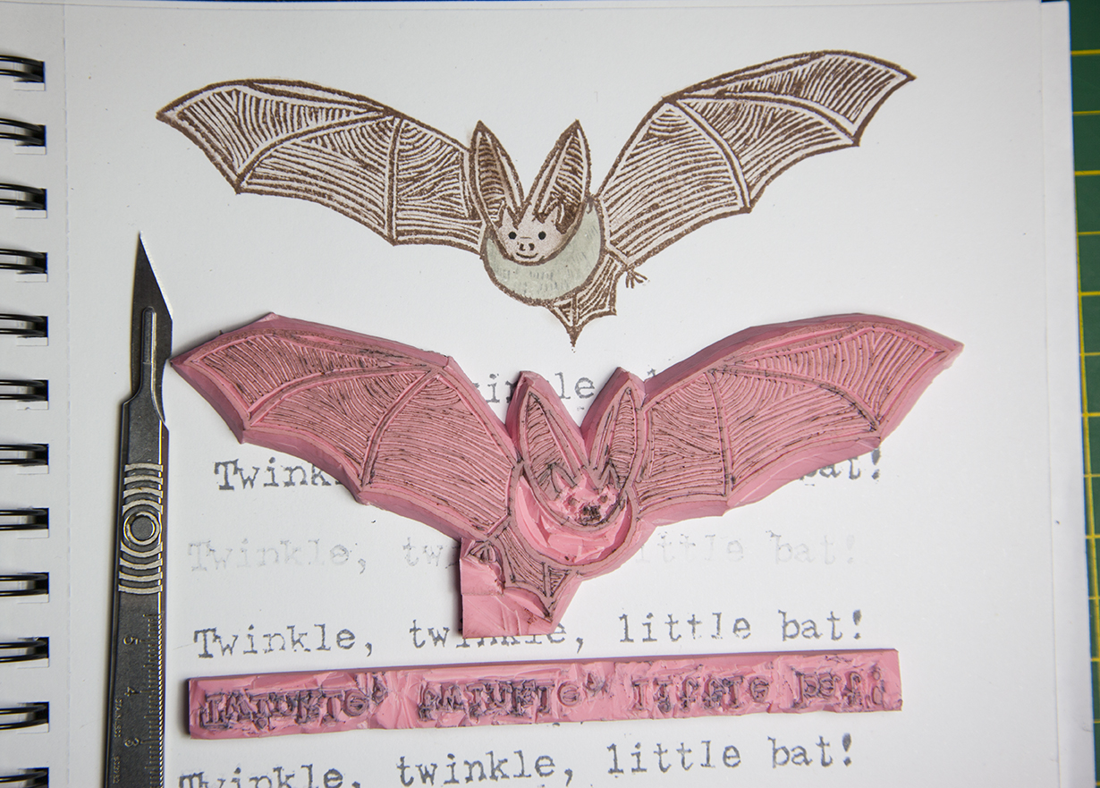 Rubber Stamp Twinkle Little Bat Long Eared Grey