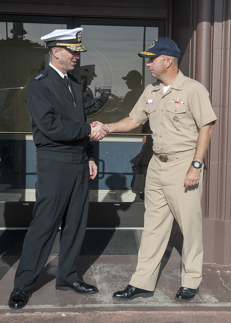Adm. John Richardson, Chief of Naval Operations (CNO), left, and Rear Adm. James Kilby.