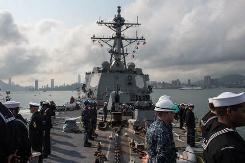 The Arleigh Burke-class guided-missile destroyer USS Mustin (DDG 89) arrived in Hong Kong Feb. 13 for a port visit during a routine patrol in the 7th Fleet area of operations.