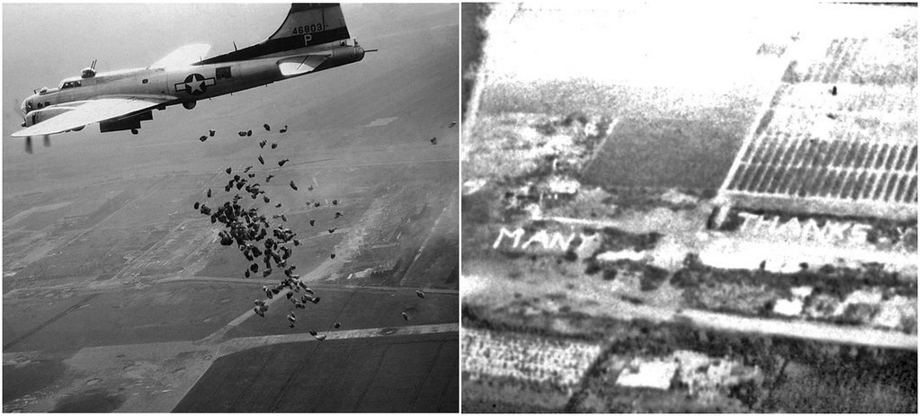 A US B-17 drops a cargo of food for the starving Dutch population in operation Chow Hound, May 1945.