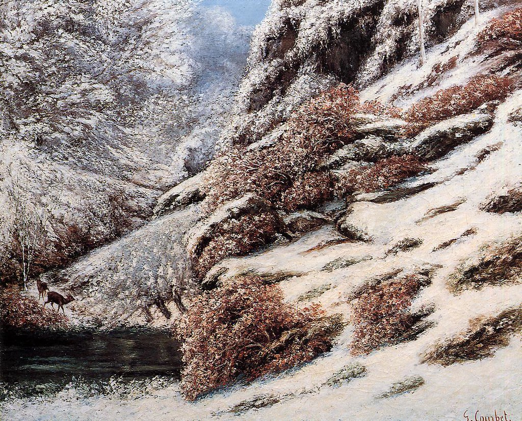 Deer in a Snowy Landscape by Gustave Courbet, 1867