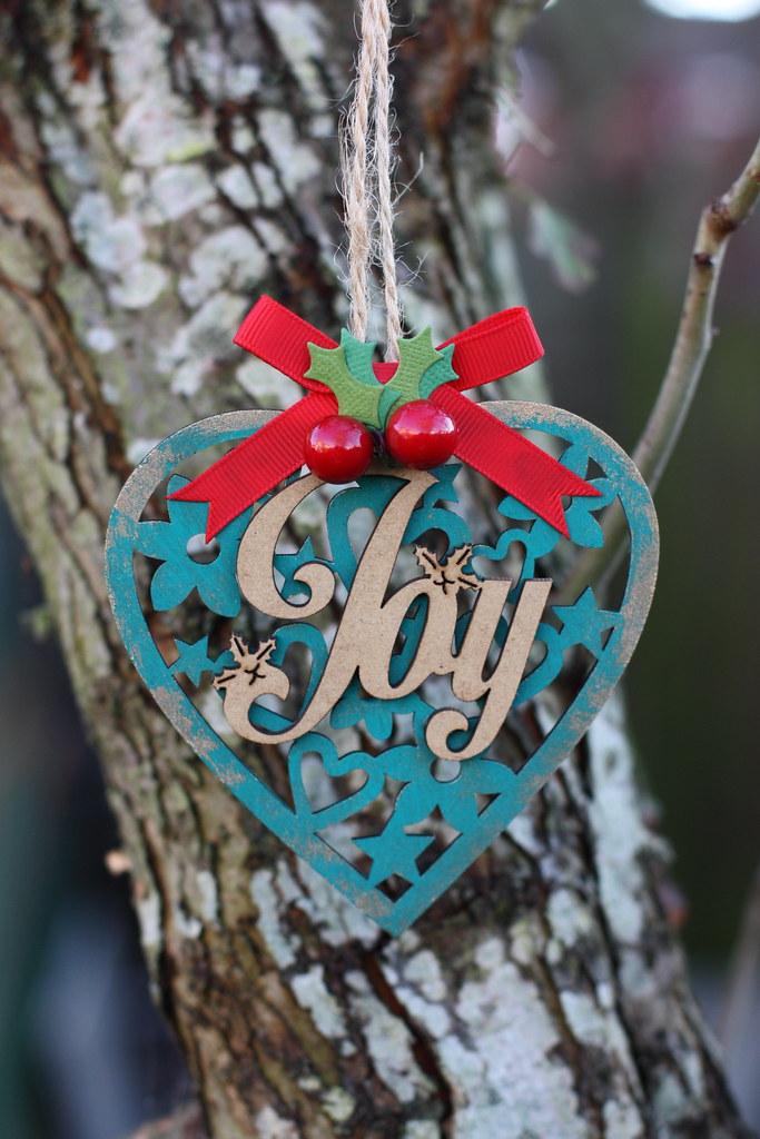 Joy Christmas Heart Decoration by StickerKitten