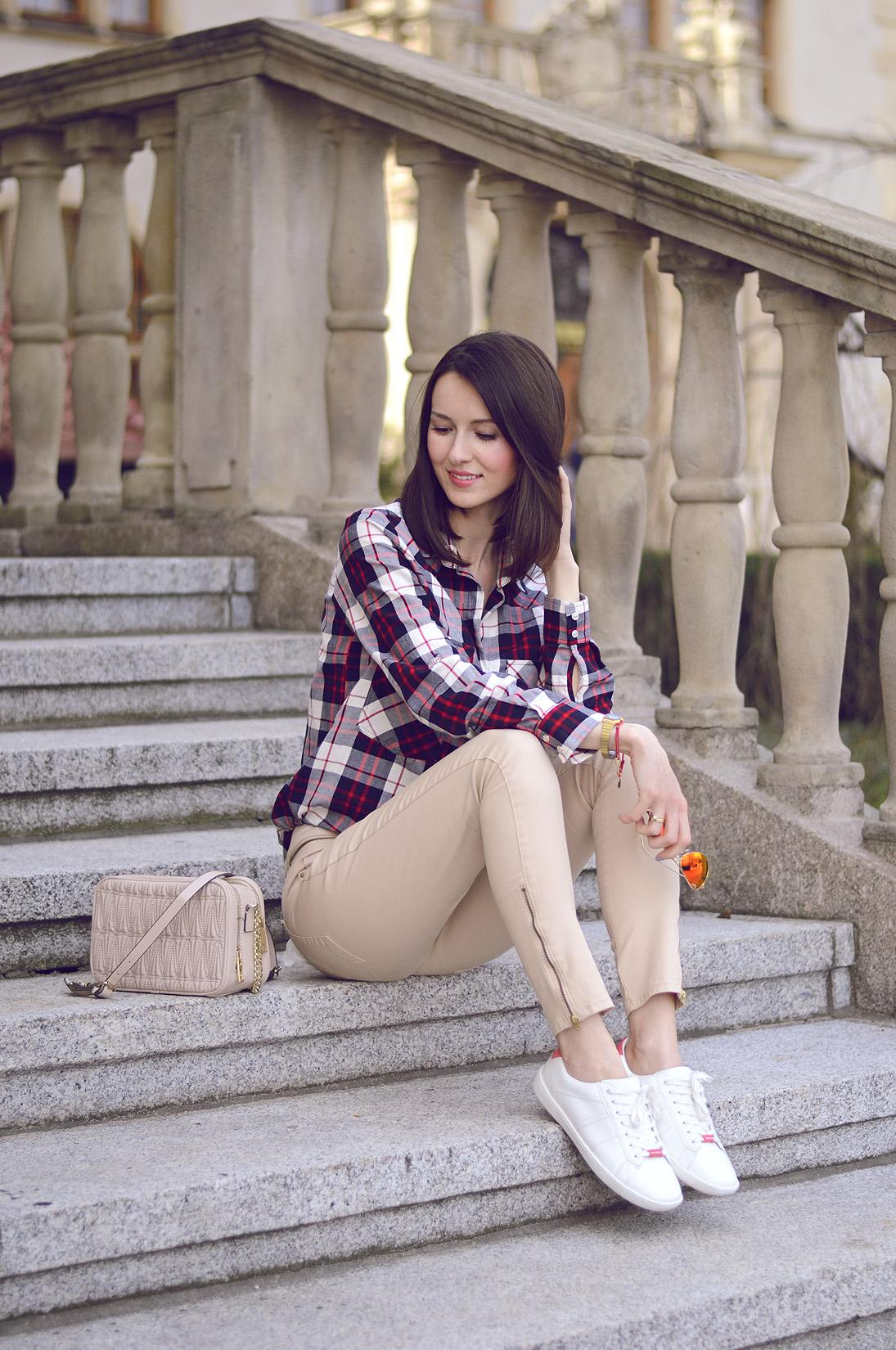 Koszula w kratę i trampki DaisyLine blog o modzie, blog