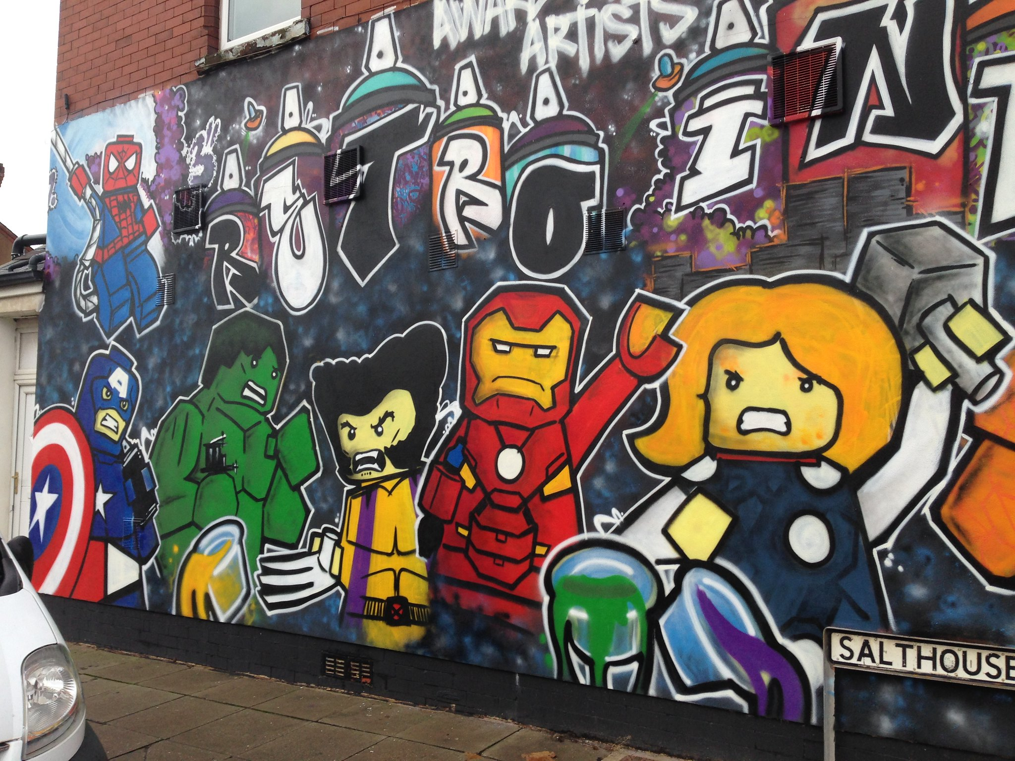 Marvel Lego street art, Blackpool, by Dominic Carlyle