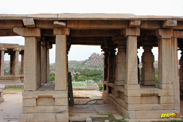 Rock pavillions or entrances on Hemakuta Hill in Hampi, Ballari district, Karnataka, India