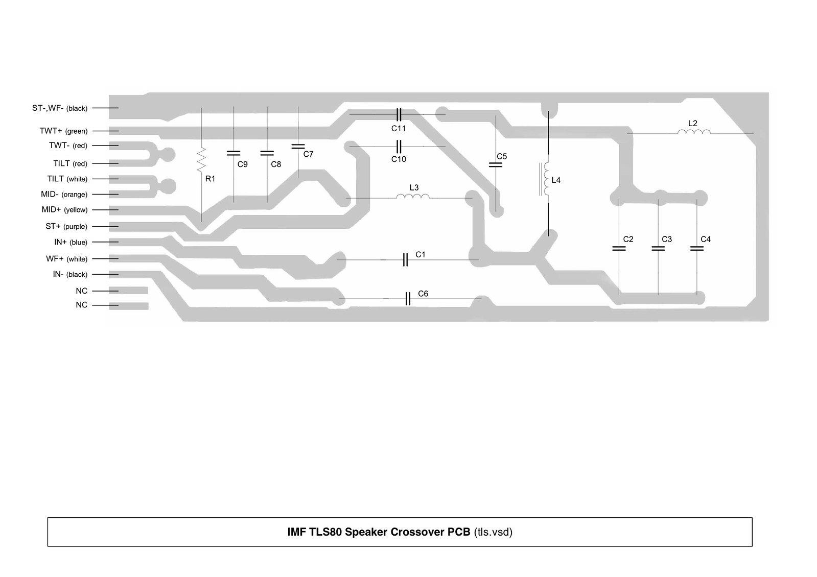 imf speaker technical details  crossover schematics