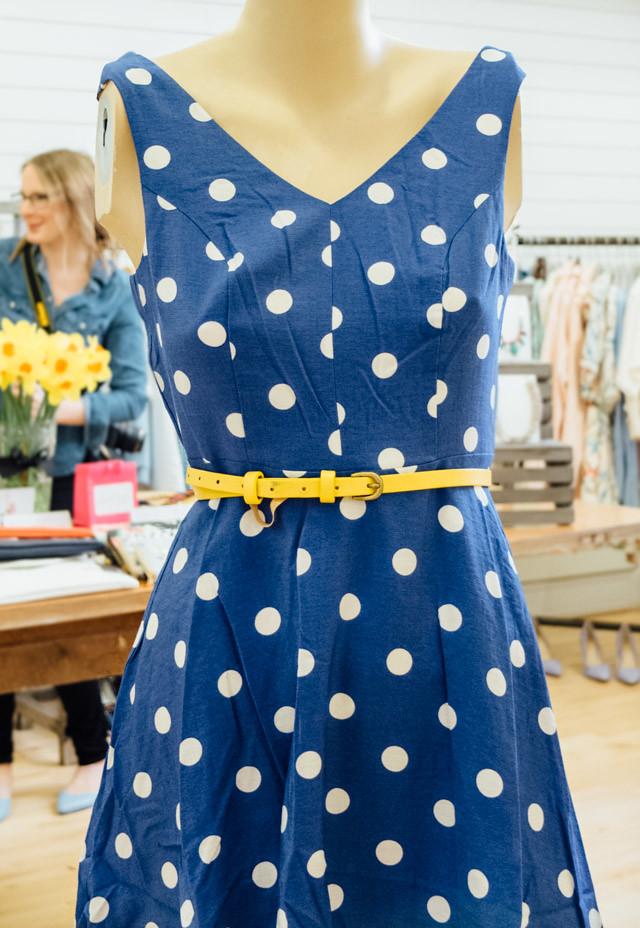 cornflower blue polka dot dress