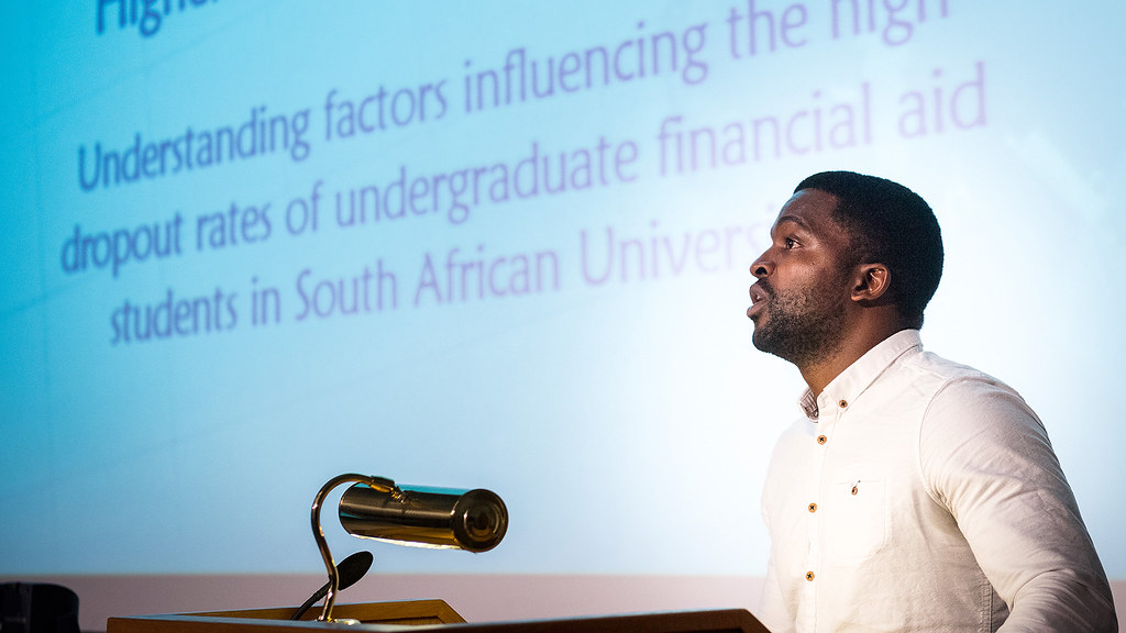 PhD in Higher Education Management student Mukovhe Masutha describes his research at Founders Day 2016