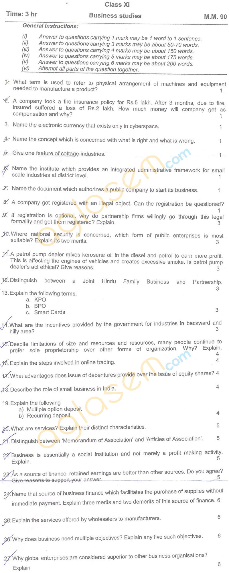 CBSE Class 11 Half Yearly Question Papers – Business Studies