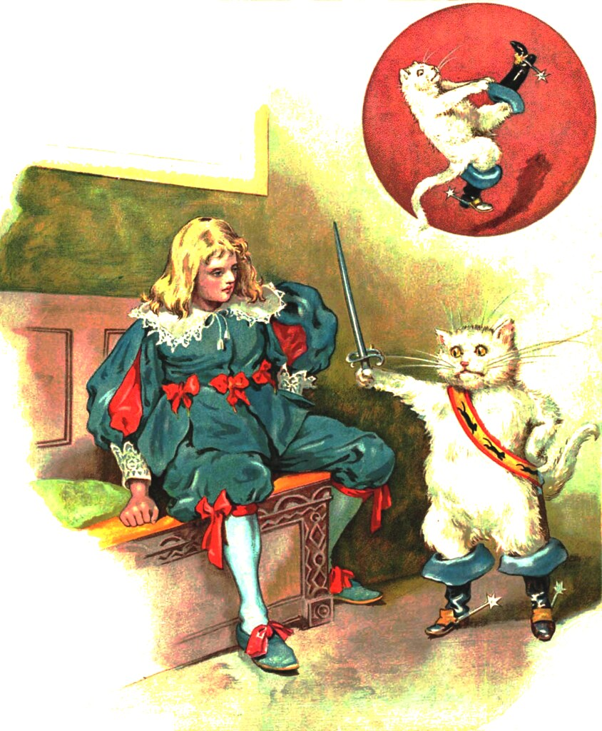Illustrations from the book 'Puss in Boots' by Artur Oppman (1867-1931)