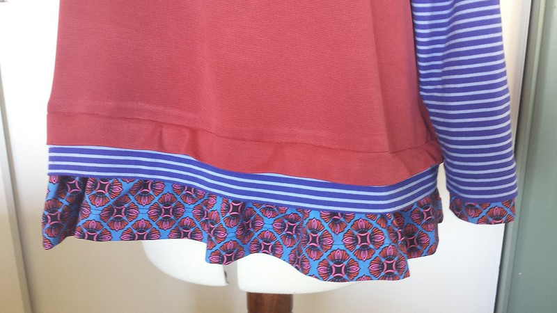 Hot Patterns Athleisure Layer Cake Tee - main fabric was a gift, stripe and print from Crafty Mamas Fabrics