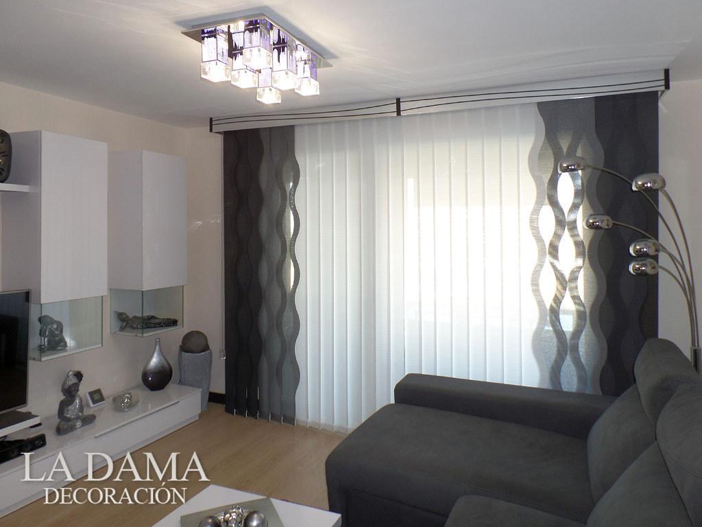 Cortina vertical de ondas con galer a decorativa - Cortinas para salon estilo moderno ...