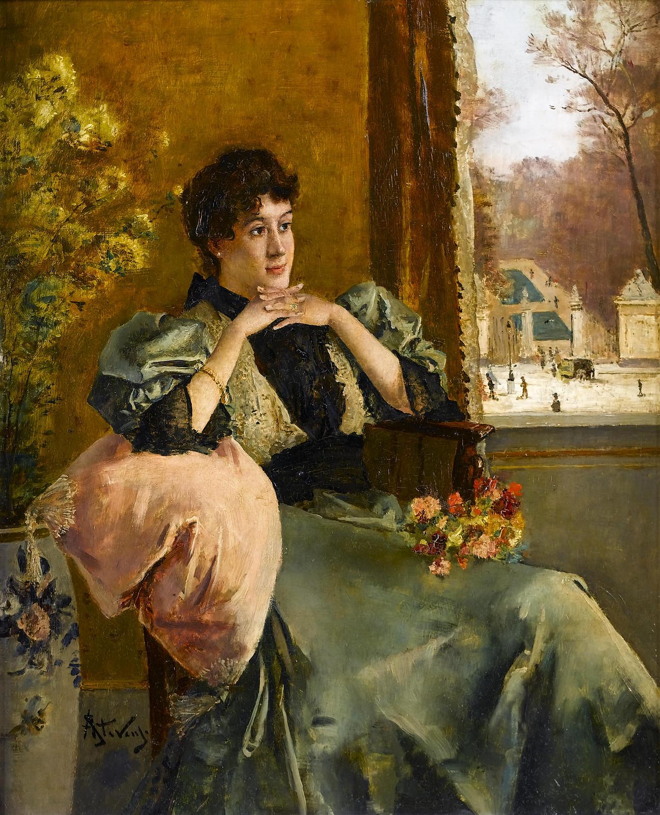 Pensive Woman Near a Window by Alfred Stevens, 1823-1906