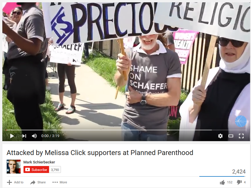 F-BOMBS RAIN ON MELISSA CLICK VIDEOGRAPHER:  At CoMo Planned Parenthood rally