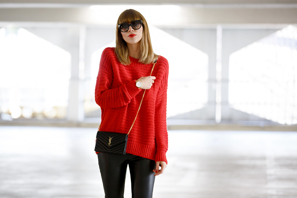 red pullover black leather pants golden details rosefield watch ...