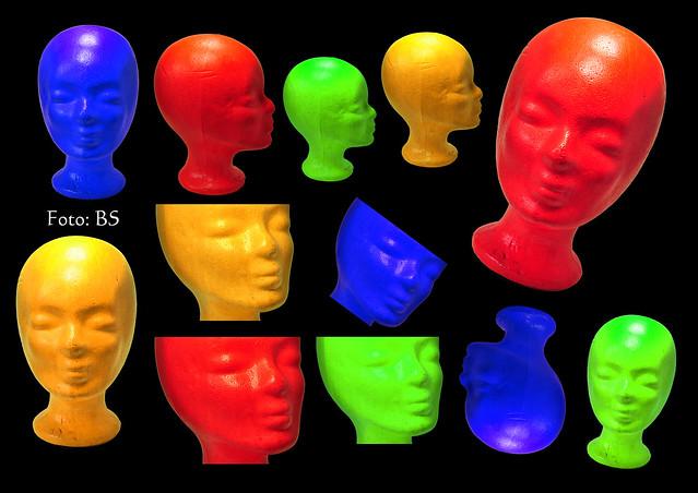 Perücke Perückenköpfe Styropor Styroporköpfe Chemotherapie weiß bunt farbenfroh Farbe ins Spiel bringen Foto Brigitte Stolle Mannheim 2016