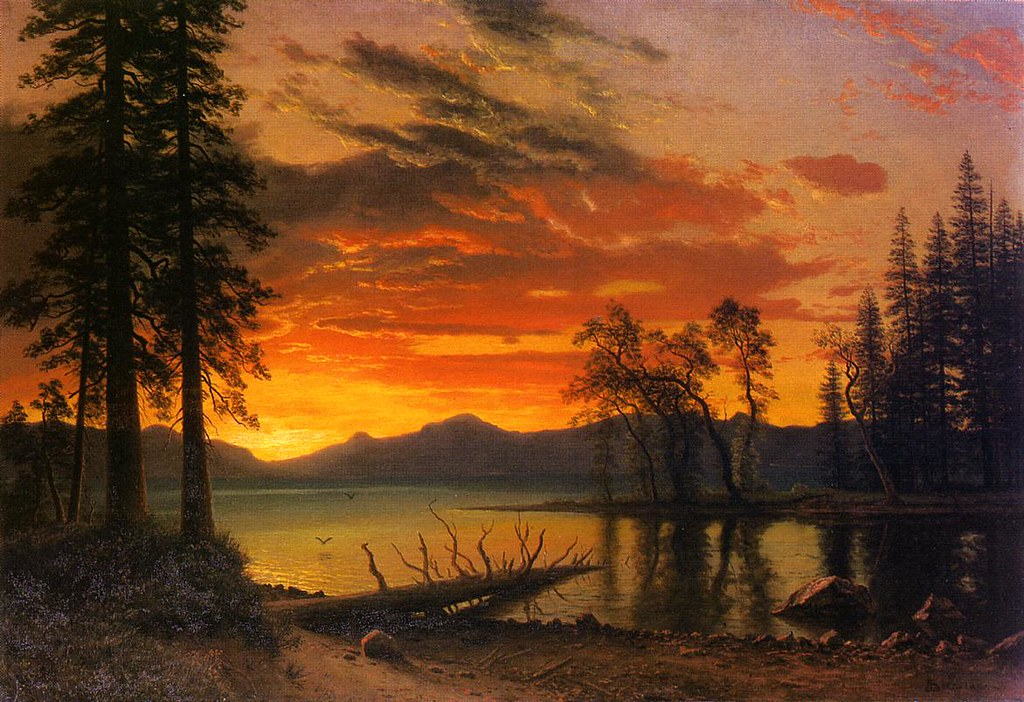 Sunset over the River by Albert Bierstadt , (1830 - 1902)