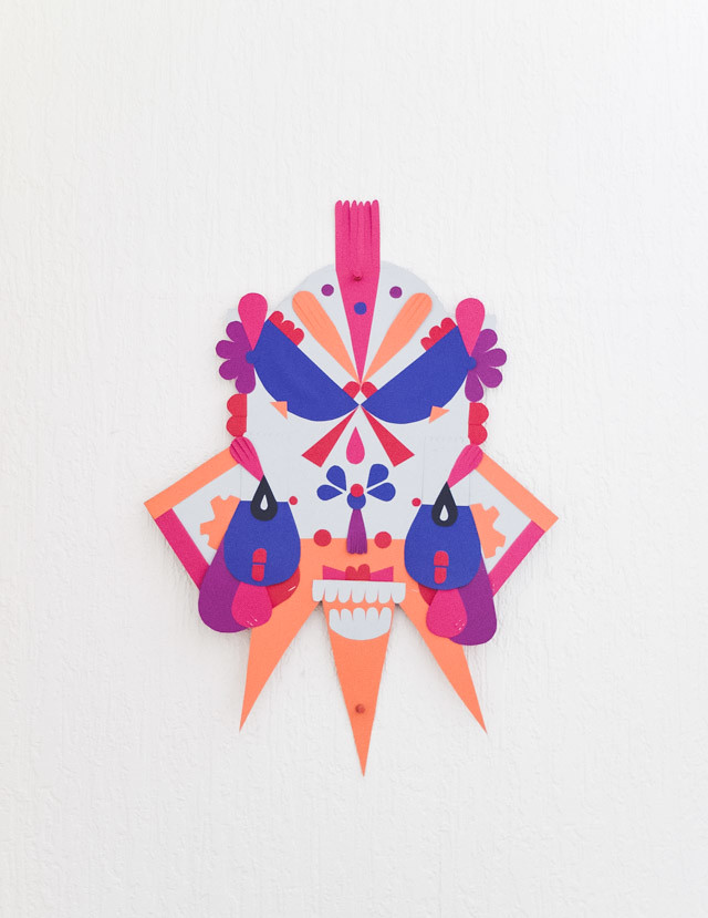 colourful paper mask by laura redburn