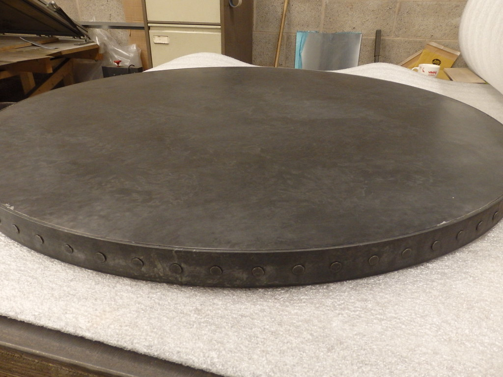 150 Patina Zinc Top With Zinc Coated Steel Edge Band And