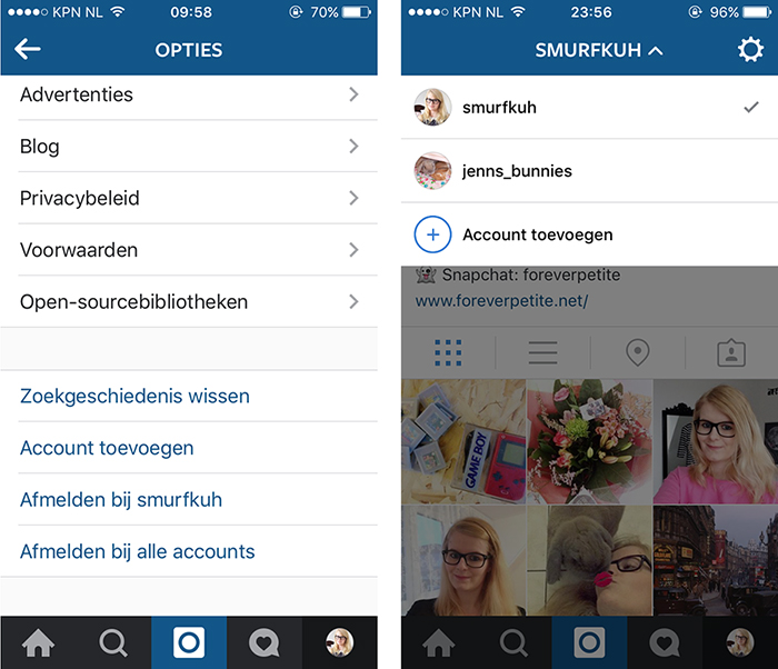 Meerdere accounts op instagram