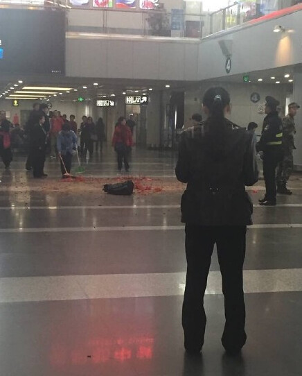 Men at the airport terminal T2 set off firecrackers was taken away by police