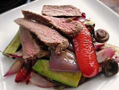 Steak and grilled vegetable salad
