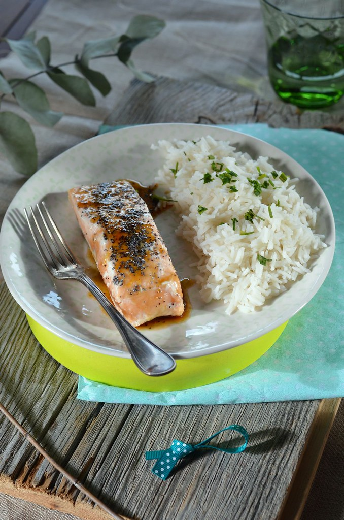 Saumon laqué au balsamique et riz basmati
