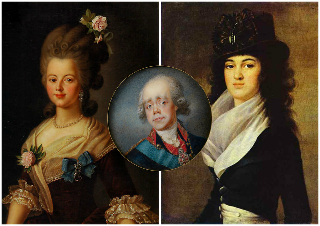 Catherine Nelidova (left) and Anna Lopukhina (right)—two mistresses of Paul I