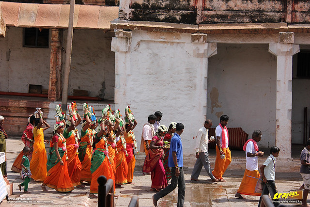 People with some kind of a religious ritual in Virupaksha Temple complex, Hampi, Ballari district, Karnataka, India