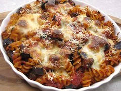 Fusilli and aubergine bake