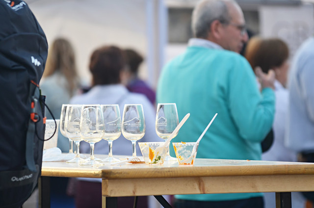 empty glasses, Wine and tapas fair, Plaza Europa, Puerto de la Cruz, Tenerife