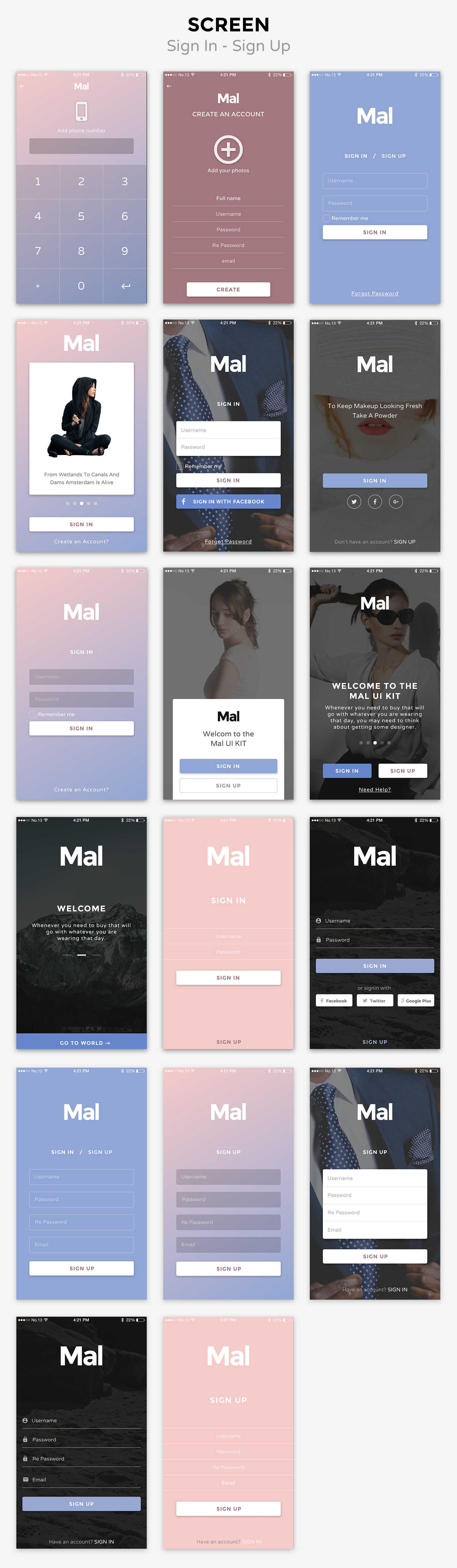 mal signin signup Mal Mobile UI KIT  (User Interfaces)