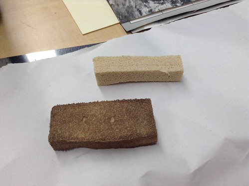 The chem sponge – before use and after.