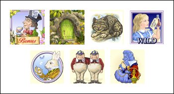 free Adventures in Wonderland slot game symbols