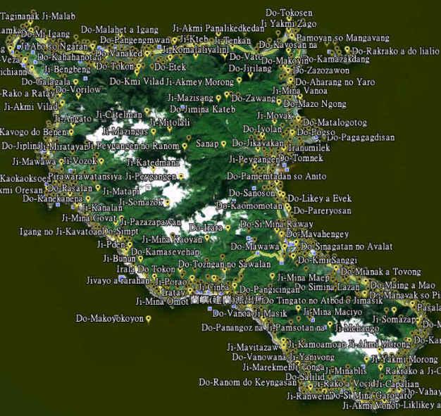 用Google地球標示出蘭嶼的傳統地名。圖片來源:蘭嶼地景人類學
