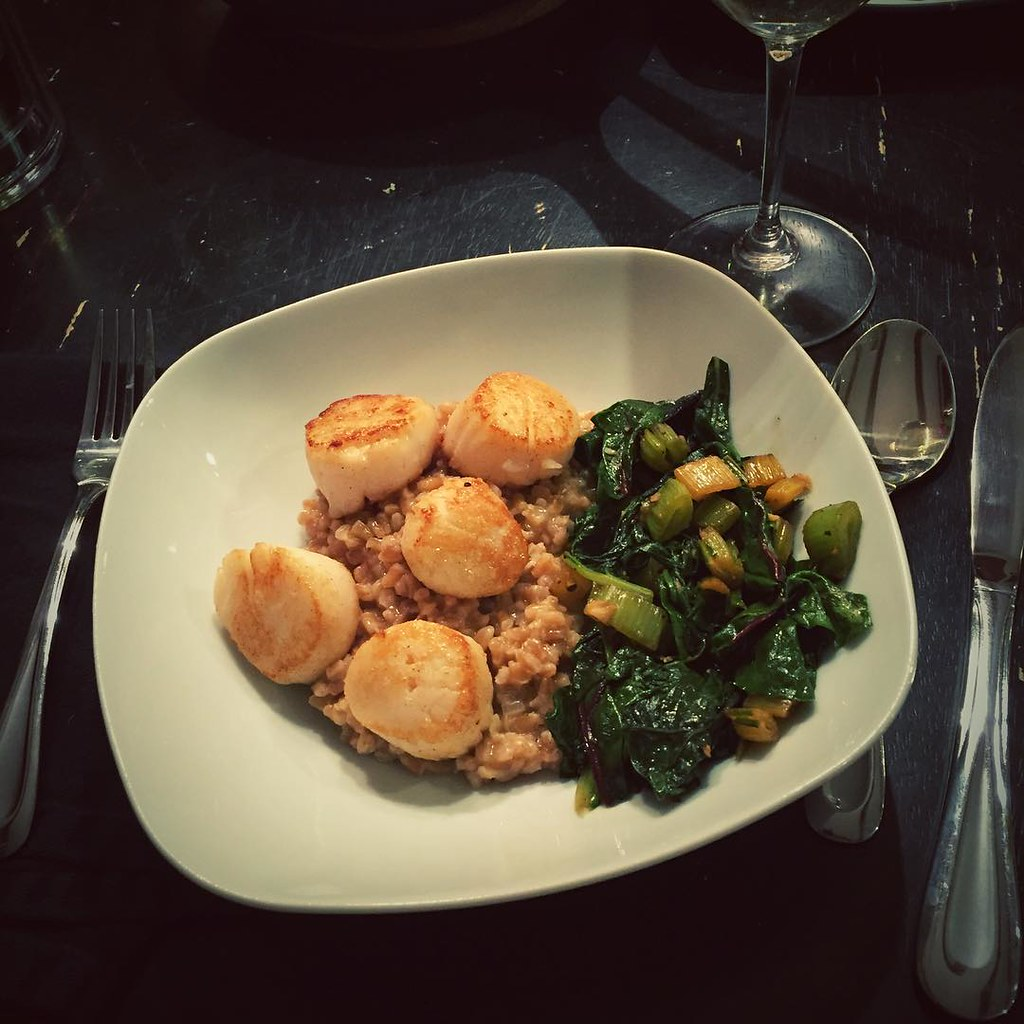 I made seared scallops, farro risotto and sautéed chard fo ...