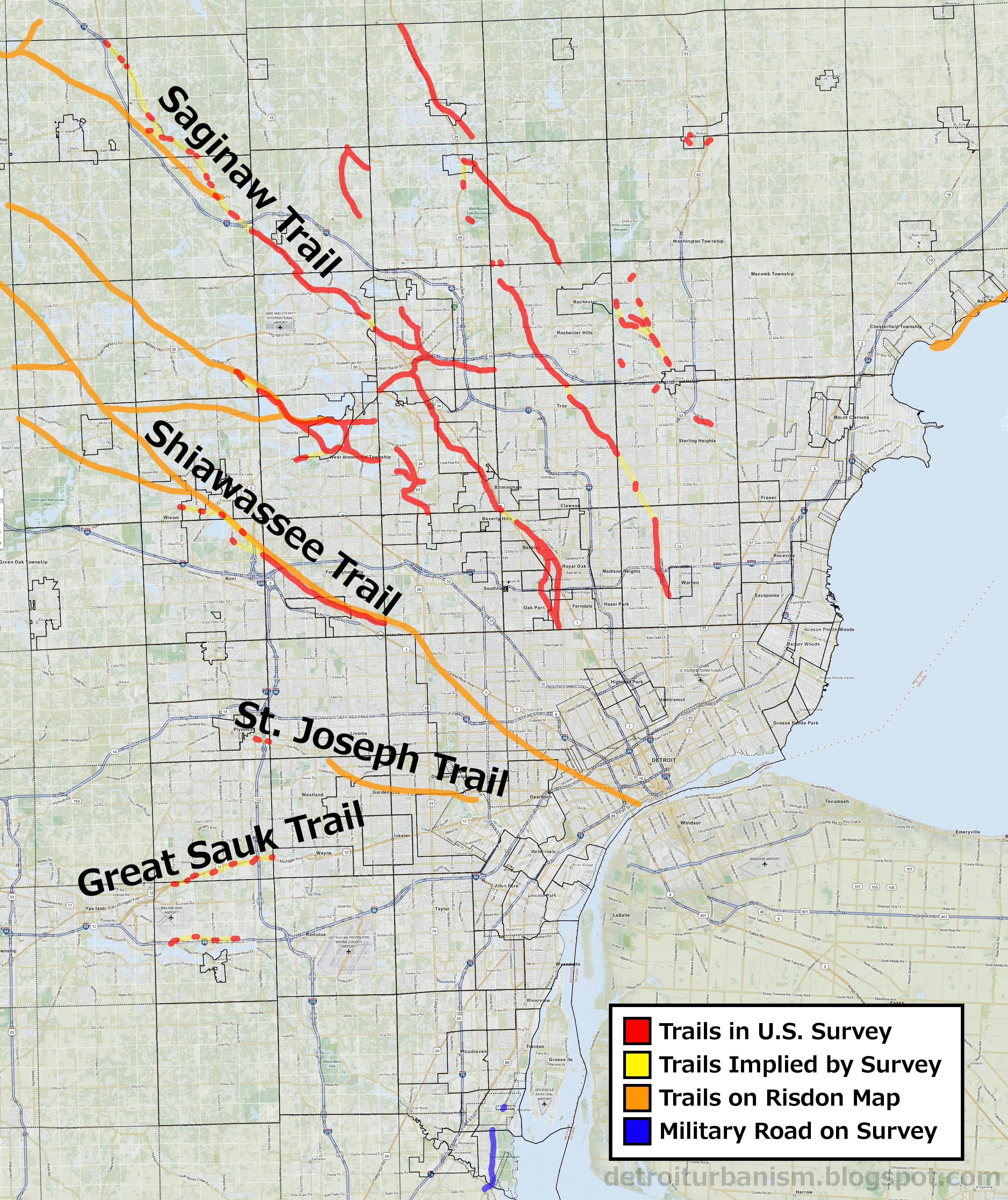 Detroit Urbanism Retracing Detroits Native American Trails - Detroit on the us map