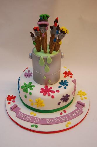 Stupendous Paint Pot Splatter Cake Beautiful Birthday Cakes Personalised Birthday Cards Sponlily Jamesorg