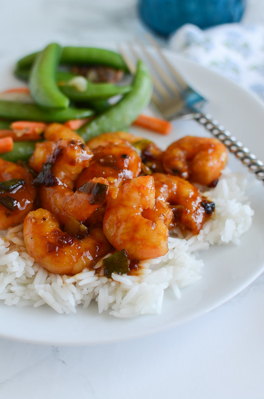 Spicy Orange Shrimp - light and healthy dinner recipe! Takes about 15 minutes to prepare. Delicious on rice!