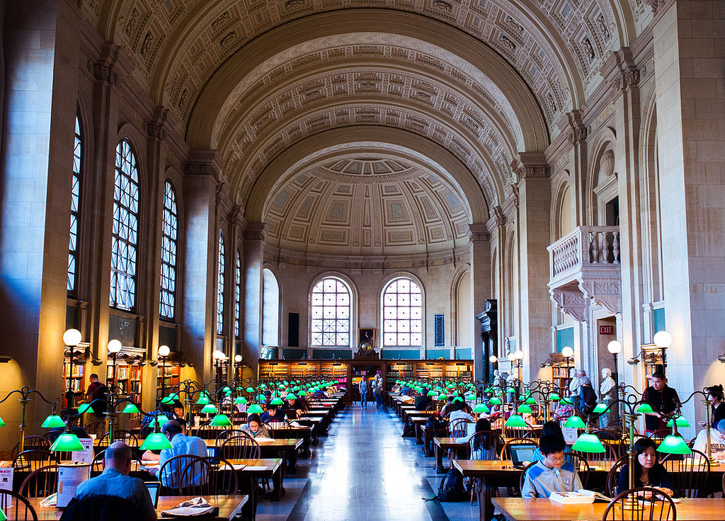 Reading Room at McKim Building, Boston Public Library, Boston, Massachusetts, USA. Image credit Brian Johnson.