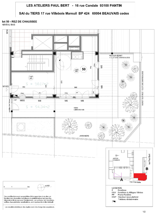 Les Ateliers Pault Bert - Plan de vente - Lot 50 (1/2)
