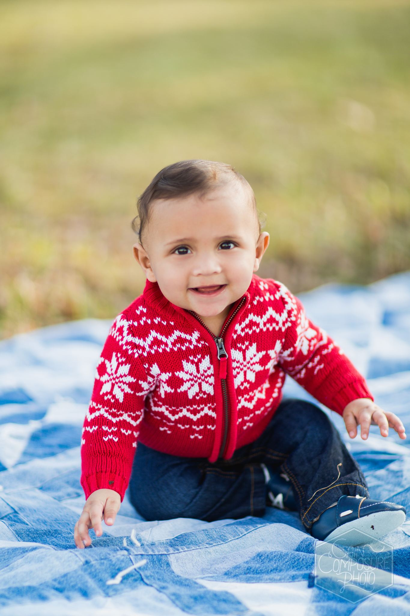 Outdoor portrait of young boy at springwood park