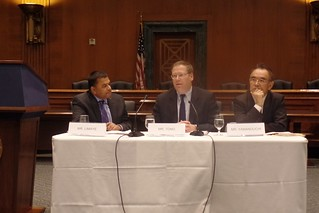 Dr. Limaye, PDAS Tong, and Minister Yamanouchi at the panel discussion for the JMA launch. Image: East-West Center.