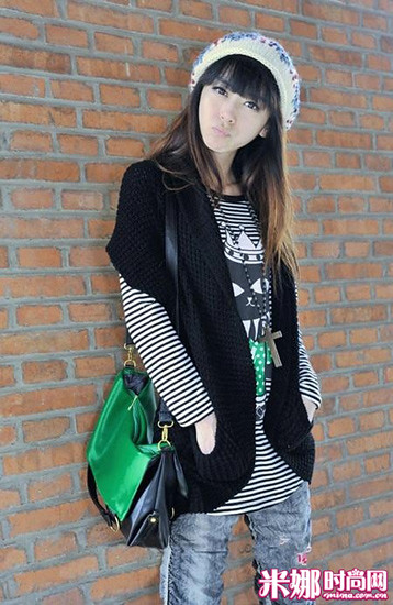 Stripe shirt with black batwing coat