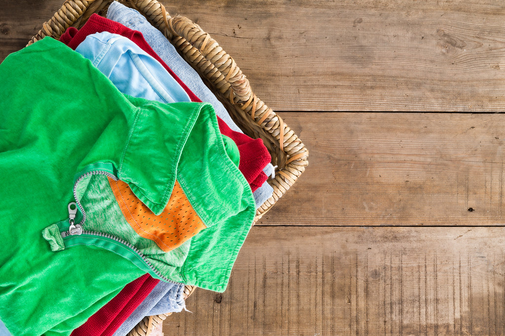 Clean Unironed Summer Clothes In A Laundry Basket Clean