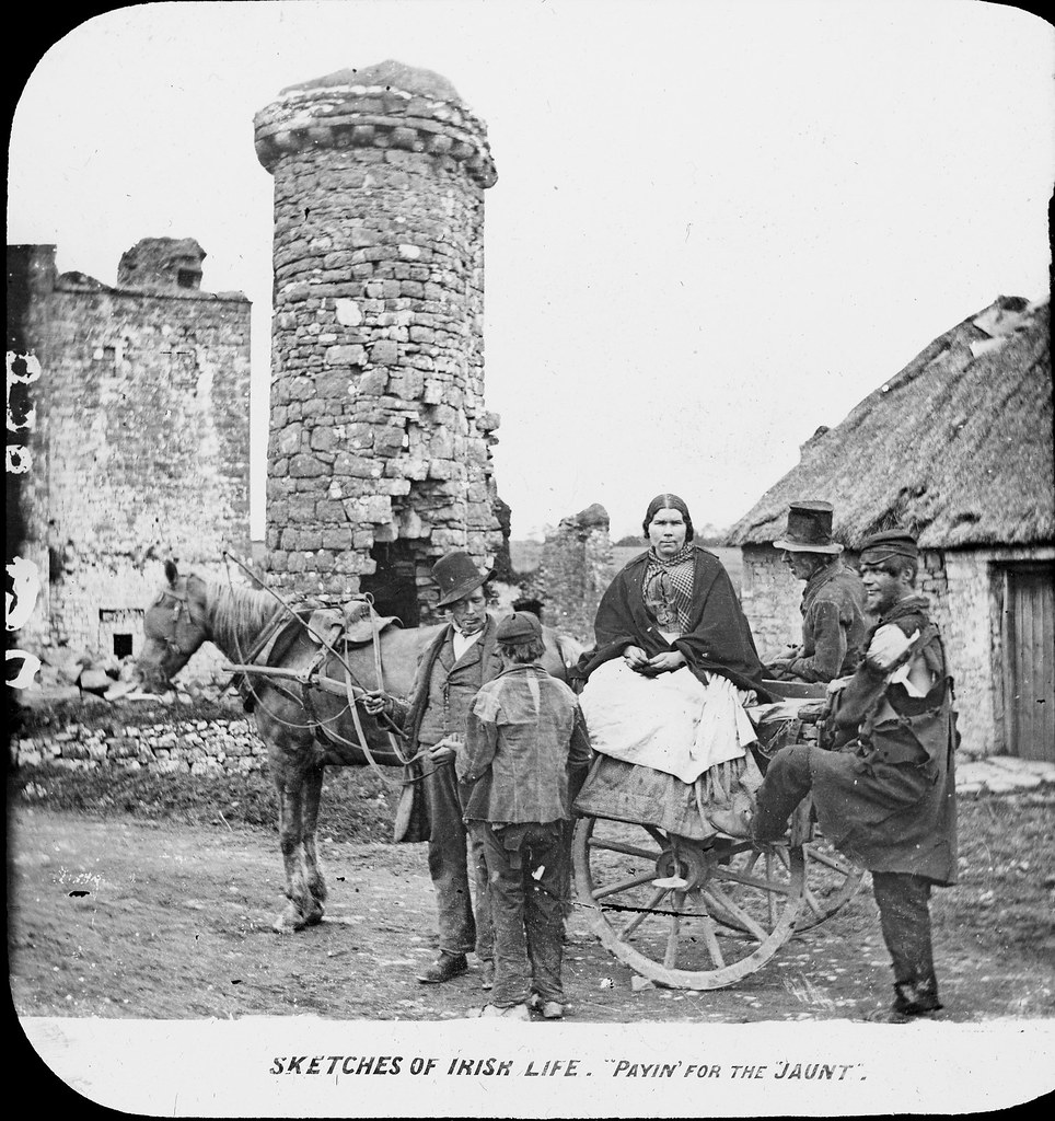 'Irish life' paying 'for the jaunt'. One woman and four men, with various hats. | by National Library of Ireland on The Commons